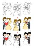 Beaux mariée et marié avec 3 actions Image libre de droits