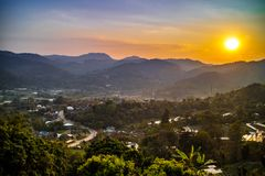 Beaux Mountain View chez Mae Rim, Chiang Mai, Thaïlande du nord Photo stock
