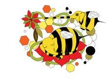 beaux mutants d'animation des abeilles d'éléphants Illustration Stock