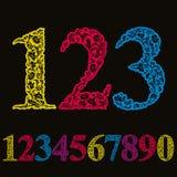 Beaux nombres floraux réglés Images libres de droits