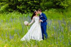 Beaux nouveaux mariés de couples en parc d'été Photographie stock