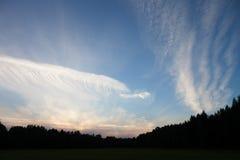 Beaux nuages blancs au-dessus de la forêt et du champ Photographie stock