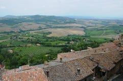 Beaux paysages dans la campagne toscane près de Montepulcia photographie stock