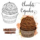 Beaux petits gâteaux tirés par la main d'aquarelle avec du chocolat illustration stock