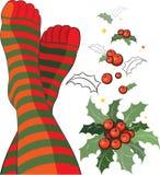 Beaux pieds dans les chaussettes stripy Image libre de droits