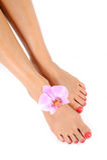 Beaux pieds de patte avec le pedicure parfait de station thermale Photographie stock libre de droits