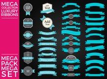 Beaux rubans, étiquettes et conception réglée de vecteur de collection d'arcs Photo libre de droits