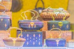 Beaux sacs à main de dame et vannerie qui a fait à partir du Lygodium (fougère de s'élever), ou lipao de Yan dans thaïlandais, le photos stock