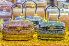 Beaux sacs à main de dame et vannerie qui a fait à partir du Lygodium (fougère de s'élever), ou lipao de Yan dans thaïlandais, le photographie stock
