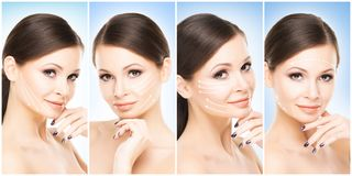 Beaux, sains et jeunes portraits femelles Collage de différents visages de femmes Levage de visage, soins de la peau, chirurgie p images libres de droits