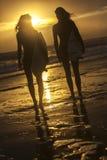Beaux surfers et planches de surf de femmes de bikini à la plage Photo stock