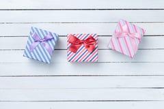 Beaux trois cadeaux Photo stock
