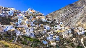 Beaux villages de la Grèce - l'Olimbos dans Karpathos image stock