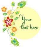 Beaux withflowers décoratifs floraux de cadre des textes de vecteur illustration stock