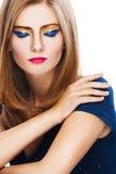 Beaux yeux lumineux de femme fermés Photographie stock