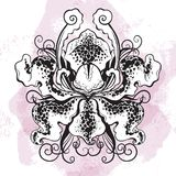 Beauyiful graphic orhid flower on watercolor background. Vector hand-drawn bohemian illustration. Tattwo art, oriental motifs. Beauyiful graphic orhid flower on stock illustration