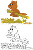 Beaver. Isolated clip-art of a beaver (2 versions of the illustration Stock Photography