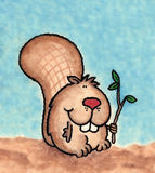 Beaver. A whimsically styled beaver. Art marker on vellum Stock Photography