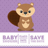 Beaver animal baby shower card icon Royalty Free Stock Photography