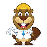 Beaver architect. Clipart picture of a beaver architect cartoon character Stock Photo