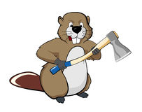 Beaver with an ax Stock Photos