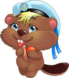 Beaver. In a beautiful peak-cap with a ship stock illustration
