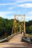 Beaver Bridge over White River. Historic suspension bridge over the White River is a historical landmark. Located in Beaver, Arkansas just Northwest of Eureka stock photography