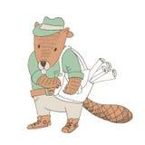 Beaver in camicia e jeans con la borsa riempita di rotoli Fotografia Stock Libera da Diritti