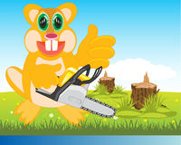 Beaver with chainsaw on glade Royalty Free Stock Photos