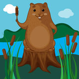 Beaver Character Sitting on a Tree Stump Stock Images