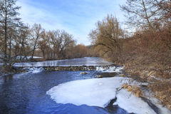 Beaver Dam on Frozen River Royalty Free Stock Photos