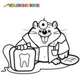 Beaver dentist holding a dental floss coloring page Royalty Free Stock Image