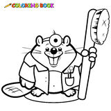 Beaver dentist holding a toothbrush coloring page Royalty Free Stock Photo