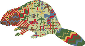 Beaver in the ethnic pattern of Indians Stock Photography