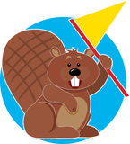 Beaver with Flag. A Beaver holding a flag and cheering Stock Photography