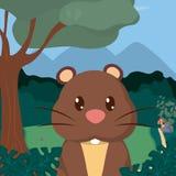 Beaver cute animals cartoons. Beaver at forest cute animal cartoons vector illustration graphic design Stock Image