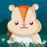 Beaver cute animals cartoons. Beaver at forest cute animal cartoons vector illustration graphic design Royalty Free Stock Photography