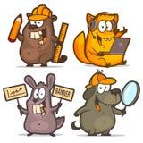 Beaver fox rabbit dog business concept Royalty Free Stock Photos