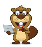 Beaver geek holding laptop. Clipart picture of a beaver geek cartoon character holding laptop Stock Photo
