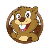 Beaver giving thumb up. Clipart picture of a beaver cartoon character giving thumb up Stock Photos