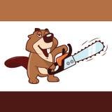 Beaver guardar uma serra de cadeia em suas mãos, ilustração do vetor Fotografia de Stock