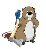 Beaver holding an ax Royalty Free Stock Image