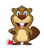 Beaver holding an axe. Clipart picture of a beaver cartoon character holding an axe Stock Photography