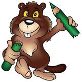 Beaver Holding Pencil Royalty Free Stock Photography