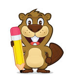 Beaver holding a pencil. Clipart picture of a beaver cartoon character holding a pencil Royalty Free Stock Image