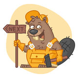 Beaver Holding Sign and Hammer Royalty Free Stock Image