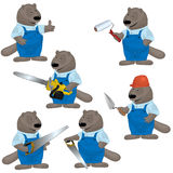 Beaver. Illustration of funny beaver as builders Stock Photography