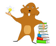 Beaver. Illustration beaver which one hand is based on the book and the other holding a light bulb symbolizing an idea Royalty Free Stock Photo