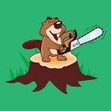 Beaver la tenuta della motosega che sta su un ceppo su un fondo verde, illustrazione Illustrazione Vettoriale