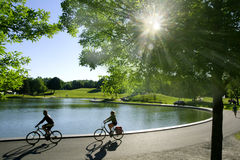 Beaver Lake. Cyclists riding around Beaver Lake on Mount-Royal mountain in Montreal,Quebec Royalty Free Stock Photo